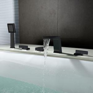 Mitigeur de baignoire cascade avec douchette cuivre H12cm 5 trous noir pour salle de bains moderne