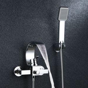 Mitigeur de baignoire cascade avec douchette mural cuivre H19.5cm chromé pour salle de bains