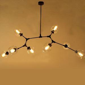 Lustre en fer à 8 lampes L 217 cm pour salon