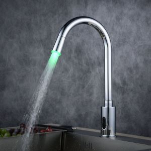 Robinet lavabo en laiton contemporain LED capteur finition Chromé