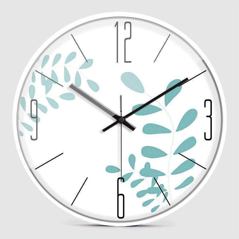 Horloge murale silencieuse en m tal 3 mod les 2 couleurs feuille simple for Horloge murale silencieuse