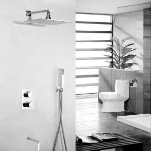 Colonne de douche encasrtée laiton chromé LED avec robinetterie pour salle de bains