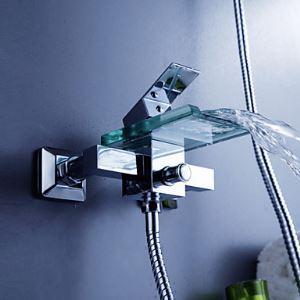Robinet de baignoire avec bec verre contemporaine cascade pour salle de bain