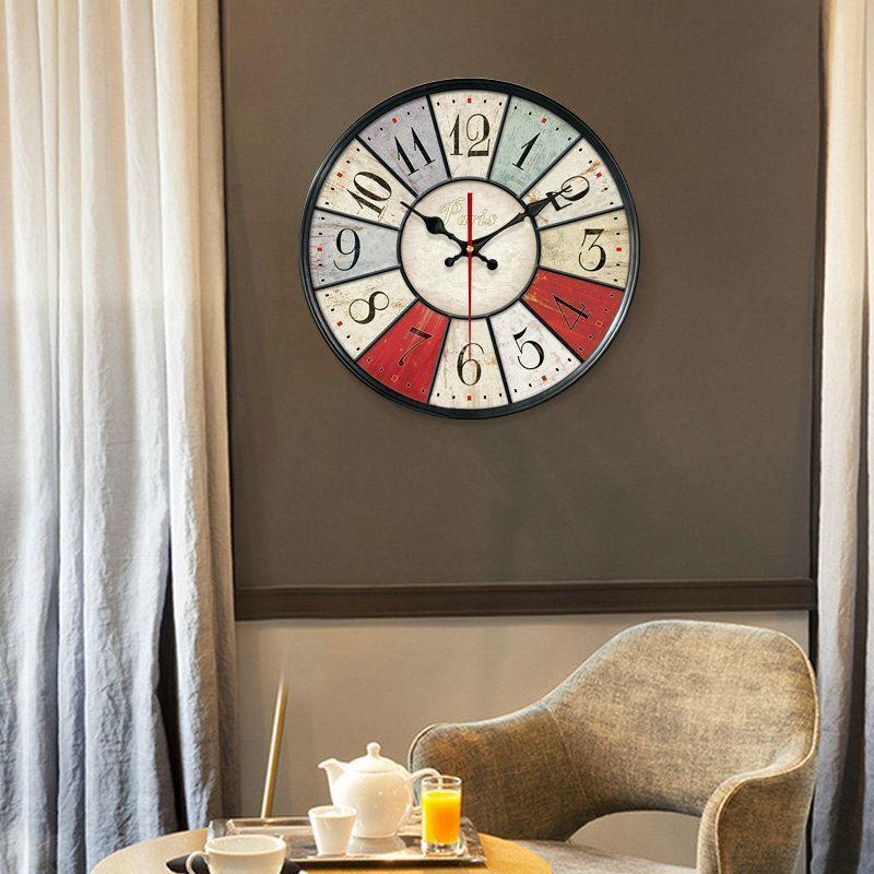 horloge murale silencieuse en bois 5 mod les rond simple pastoral. Black Bedroom Furniture Sets. Home Design Ideas