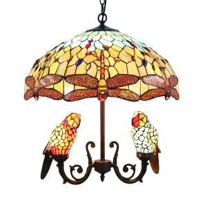 Suspension perroquet tiffany D 50 cm délicate luminaire pour salon cuisine