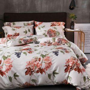 Housse de couette 200*230cm 1 drap 2 taies d'oreiller en coton lis vivant écologique