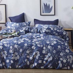 Housse de couette 200*230cm 1 drap 2 taies d'oreiller en coton fleur plante blanc écologique