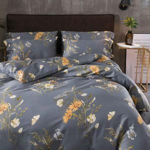 Housse de couette 200*230cm 1 drap 2 taies d'oreiller en coton bleu fleur écologique