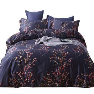 Housse de couette 200*230cm 1 drap 2 taies d'oreiller en coton bleu rameau florifère écologique