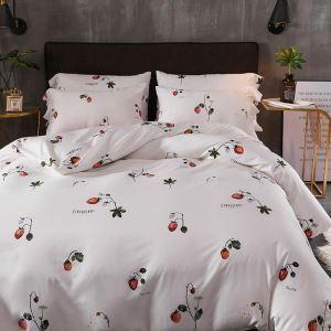 Housse de couette 200*230cm 1 drap 2 taies d'oreiller en coton blanc fruit écologique