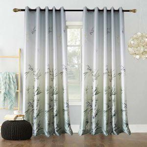 Rideau tamisant imprimé en polyester coton bambou vert pour chambre à coucher simple