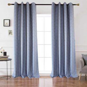 Rideau tamisant jacquard en polyester lin petit carreau bleu pour chambre à coucher simple