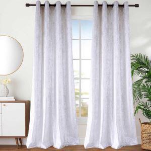Rideau tamisant en polyester coton blanc pour chambre à coucher simple