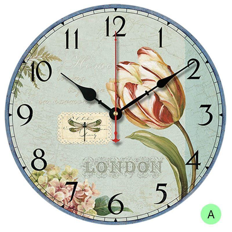 horloge murale silencieuse en bois 6 mod les rond tulipe pastoral. Black Bedroom Furniture Sets. Home Design Ideas