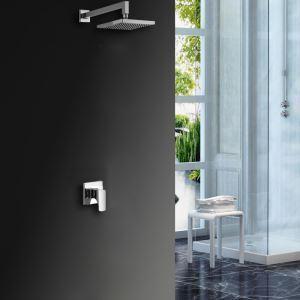 Colonne de douche LED encasrtée laiton chromé pour salle de bains