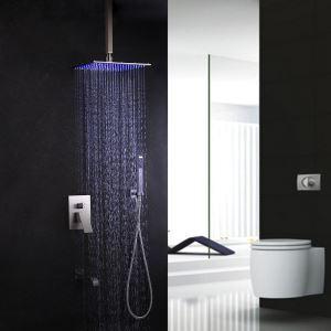 Colonne de douche avec robinetterie LED encasrtée acier inoxydable brossé montage au plafond pour salle de bains moderne