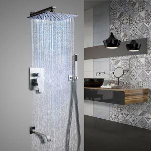 Colonne de douche avec robinetterie LED encasrtée acier inoxydable brossé pour salle de bains