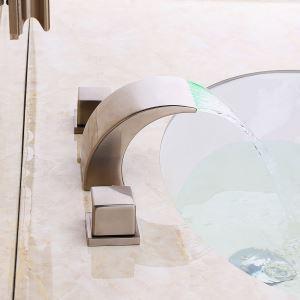 Mitigeur de baignoire LED cassade laiton H10.5cm 2 poignées 3 modèles pour salle de bains antique