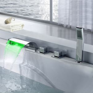 Mitigeur de baignoire avec douchette LED cassade laiton H7cm 2 poignées chromé carré pour salle de bains