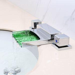 Mitigeur de baignoire LED cassade laiton H3.8cm 2 poignées chromé carré pour salle de bains