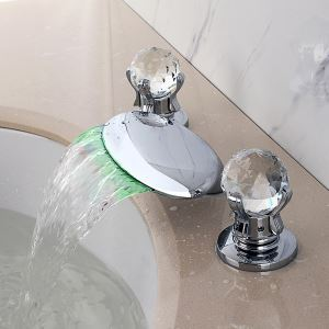 Mitigeur de baignoire LED cassade laiton H4.5cm 2 poignées chromé pour salle de bains