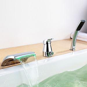 Mitigeur de baignoire avec douchette LED cassade laiton H7.2cm chromé pour salle de bains