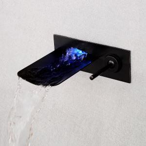 Mitigeur de baignoire LED cassade mural laiton noir pour salle de bains