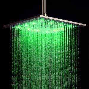 Pommeau de douche acier inoxydable LED D40cm carré brossé pour salle de bains