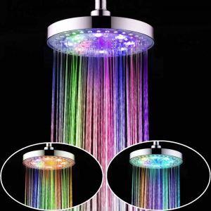 Pommeau de douche laiton LED D25cm rond 7 couleurs pour salle de bains