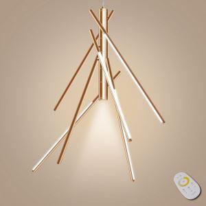 Lustre bambou dimmable LED intégrée à 7 lumières or rose chrome avec télécommande bon design
