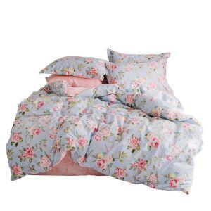 Housse de couette 200*230cm 220*240cm 1 drap 2 taies d'oreiller en coton 2 modèles rose