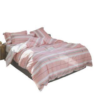 Housse de couette 200*230cm 220*240cm 1 drap 2 taies d'oreiller en coton 2 modèles rayure rose