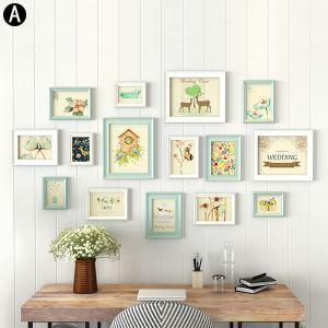 Cadre photo 15 vues en bois 4 modèles pour salle chambre moderne