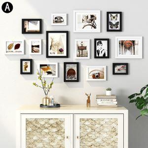 Cadre photo 15 vues en bois 4 modèles pour salle chambre