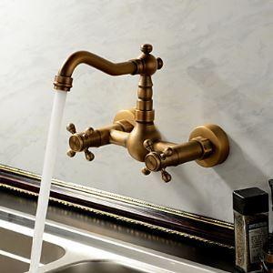 (Entrepôt UE) Antique inspiré robinet de cuisine - montage mural(fini laiton antique)