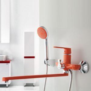 Mitigeur de douche avec robinetterie cuivre chromé rouge