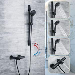 Mitigeur de douche à main mural thermostatique cuivre noir pour salle de bains