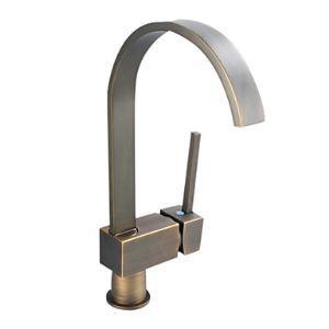 (Entrepôt UE) Antique inspirée robinet de cuisine en laiton massif - finition Bronze Antique