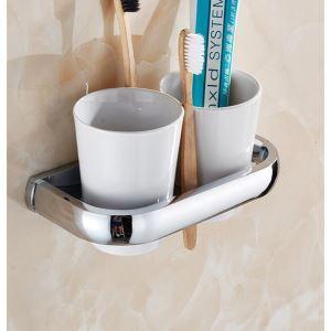 (Entrepôt UE) Porte-brosses à dents en laiton pour salle de bain toilettes moderne/contemporain couleur de chrome mural