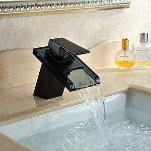 Robinet de lavabo Antique Finition ORB cascade verre pour salle de bain