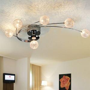 Plafonnier aluminium artistique à 6 lumières L 75 cm