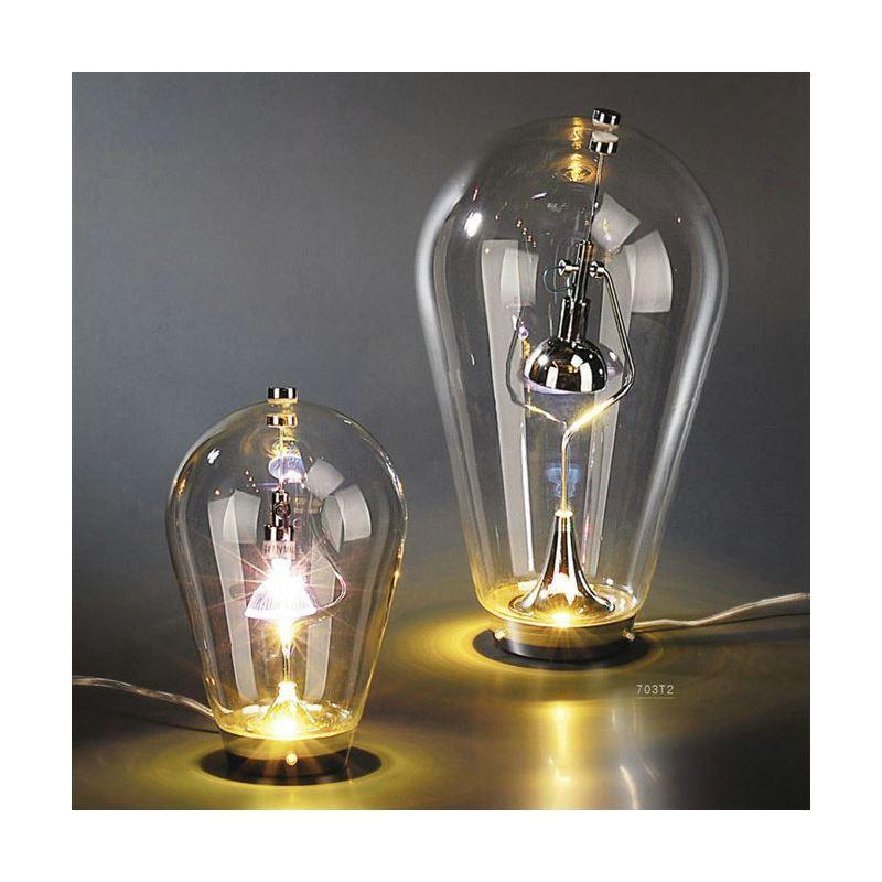 lampe poser verre h 40cm veilleuse lampe de nuit pour chambre salon. Black Bedroom Furniture Sets. Home Design Ideas