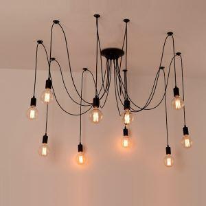 Lustre à 10 lampes D80cm vintage artistique noir peinture pour cuisine salon