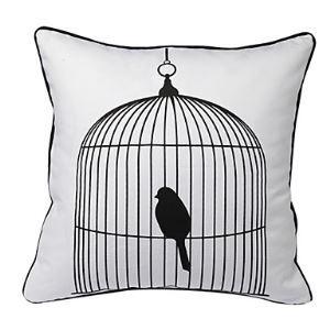 (Entrepôt UE) Enveloppe de coussin / taie d'oreiller Oiseau dans la cage