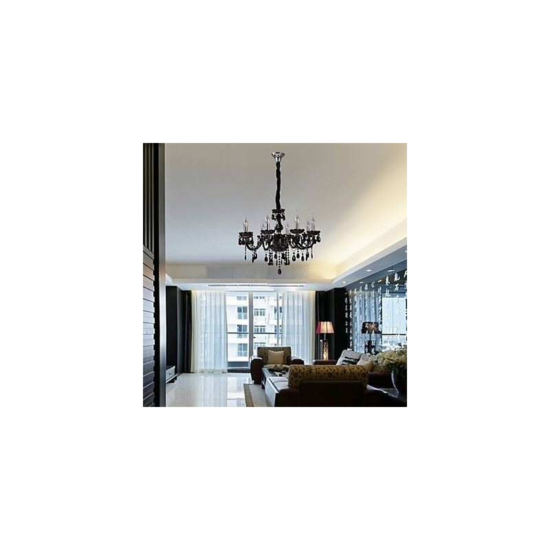 luminaire lampes de plafond lustre noir lustre en cristal avec 8 lampes. Black Bedroom Furniture Sets. Home Design Ideas