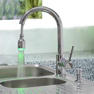 (Entrepôt UE) Laiton déroulant robinet de cuisine avec changement de couleur LED - Printemps