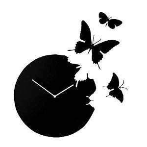 (Entrepôt UE) Horloge murale acrylique design à motif des papillons décoration pour chambre salle