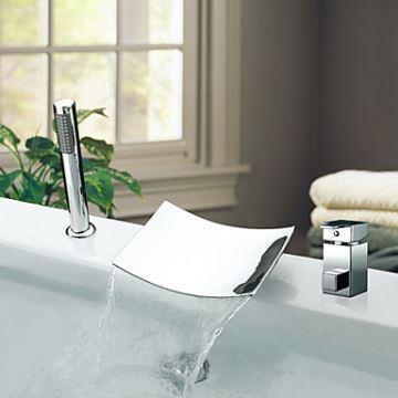 Robinet de baignoire cascade avec douchette chromée 2 Poignées ...