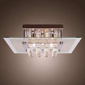 (Entrepôt UE) Plafonnier Contemporains cristal de goutte des lampes encastrés avec 5 lampes en forme carrée