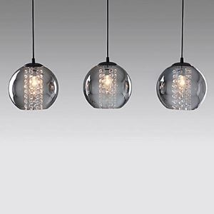 (Entrepôt UE)Suspension Contemporain lampes suspendues en verre avec 3 lampes cristal luminaire décoratif pour cuisine salle chambre